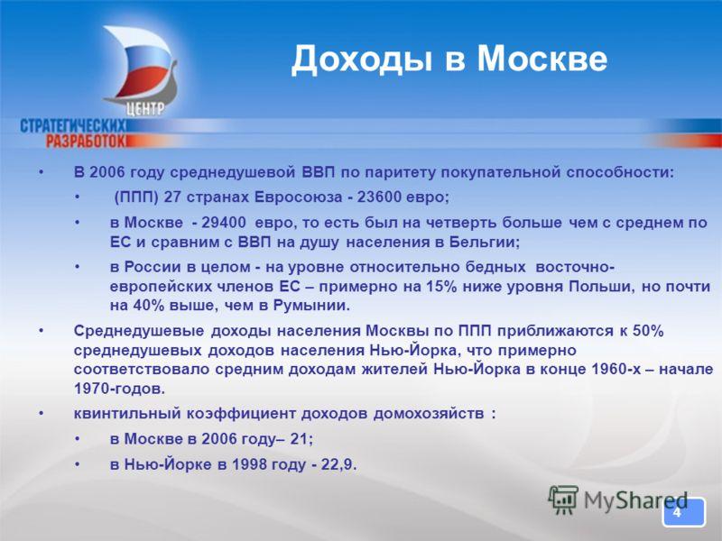 4 4 Доходы в Москве В 2006 году среднедушевой ВВП по паритету покупательной способности: (ППП) 27 странах Евросоюза - 23600 евро; в Москве - 29400 евро, то есть был на четверть больше чем с среднем по ЕС и сравним с ВВП на душу населения в Бельгии; в