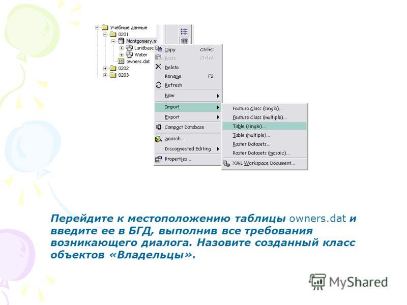 Перейдите к местоположению таблицы owners.dat и введите ее в БГД, выполнив все требования возникающего диалога. Назовите созданный класс объектов «Владельцы».