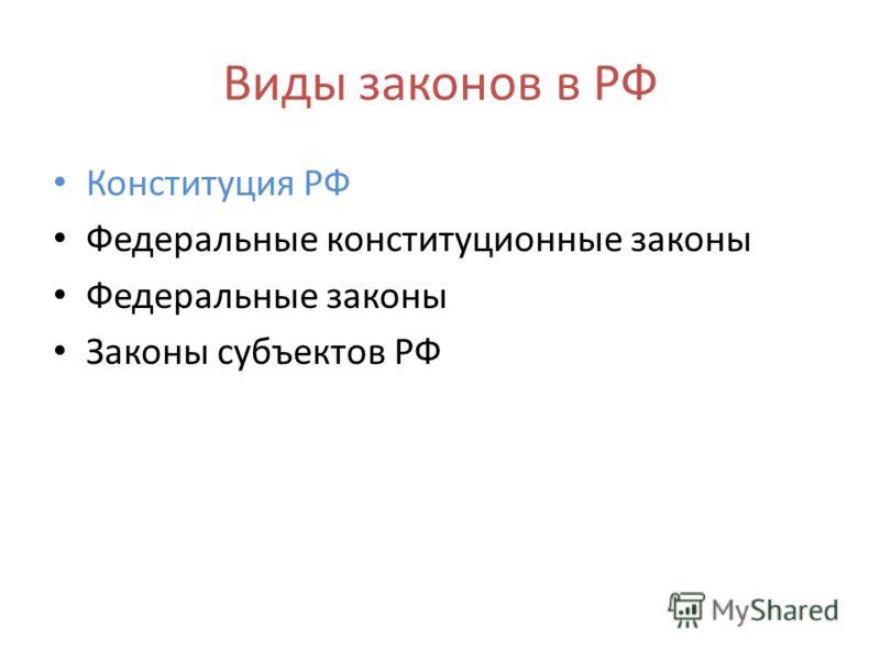 Виды законов в РФ Конституция РФ Федеральные конституционные законы Федеральные законы Законы субъектов РФ