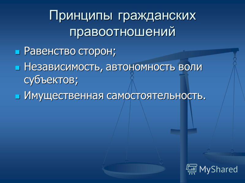 Принципы гражданских правоотношений Равенство сторон; Равенство сторон; Независимость, автономность воли субъектов; Независимость, автономность воли субъектов; Имущественная самостоятельность. Имущественная самостоятельность.