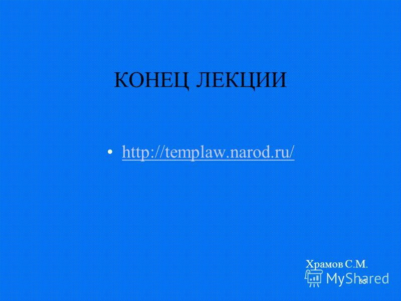 55 КОНЕЦ ЛЕКЦИИ http://templaw.narod.ru/ Храмов С.М.