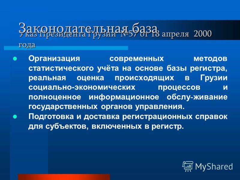 Указ Президента Грузии 57 от 18 апреля 2000 года Организация современных методов статистического учёта на основе базы регистра, реальная оценка происходящих в Грузии социально-экономических процессов и полноценное информационное обслу - живание госуд