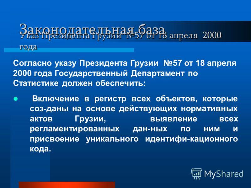 Указ Президента Грузии 57 от 18 апреля 2000 года Включение в регистр всех объектов, которые соз - даны на основе действующих нормативных актов Грузии, выявление всех регламентированных дан - ных по ним и присвоение уникального идентифи - кационного к