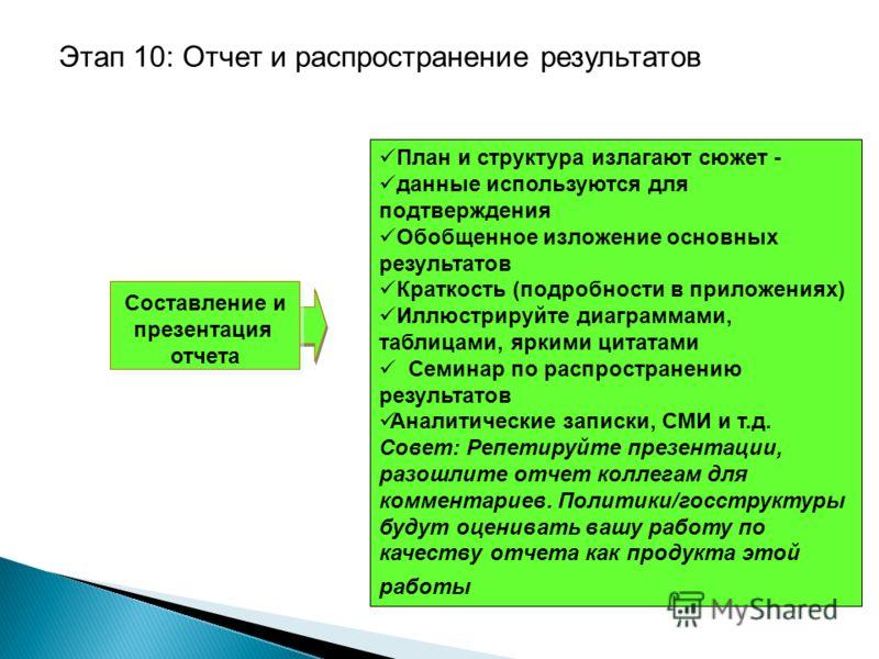 Составление и презентация отчета План и структура излагают сюжет - данные используются для подтверждения Обобщенное изложение основных результатов Краткость (подробности в приложениях) Иллюстрируйте диаграммами, таблицами, яркими цитатами Семинар по
