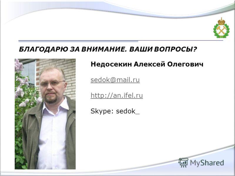 БЛАГОДАРЮ ЗА ВНИМАНИЕ. ВАШИ ВОПРОСЫ? Недосекин Алексей Олегович sedok@mail.ru http://an.ifel.ru Skype: sedok_