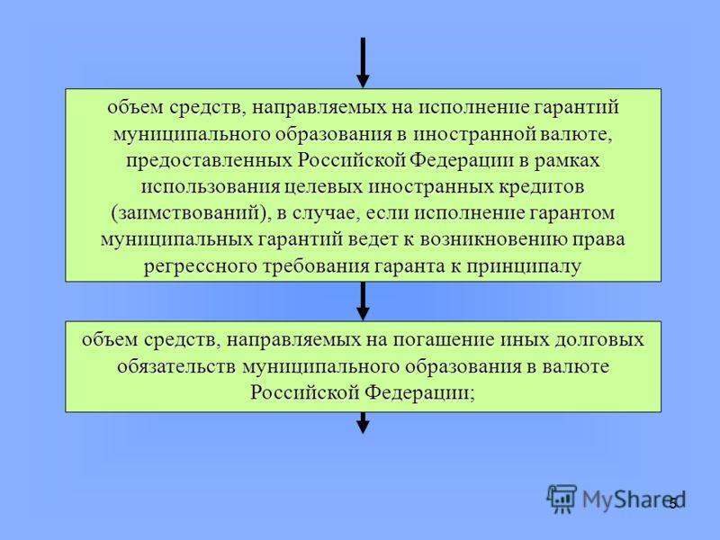 5 объем средств, направляемых на исполнение гарантий муниципального образования в иностранной валюте, предоставленных Российской Федерации в рамках использования целевых иностранных кредитов (заимствований), в случае, если исполнение гарантом муницип