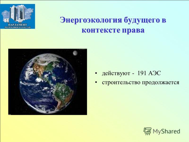 Энергоэкология будущего в контексте права действуют - 191 АЭС строительство продолжается