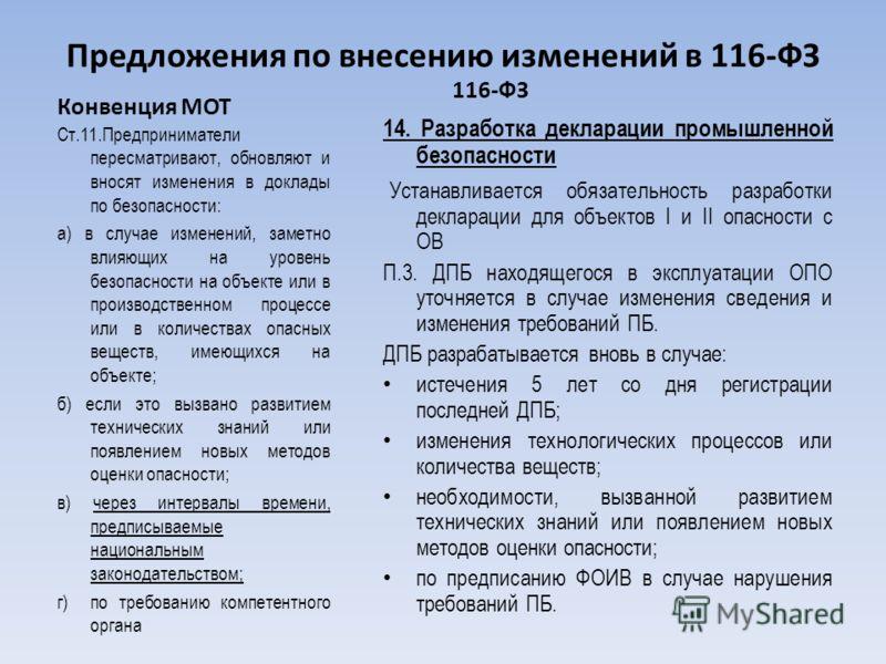 Предложения по внесению изменений в 116-ФЗ Конвенция МОТ Cт.11.Предприниматели пересматривают, обновляют и вносят изменения в доклады по безопасности: а) в случае изменений, заметно влияющих на уровень безопасности на объекте или в производственном п