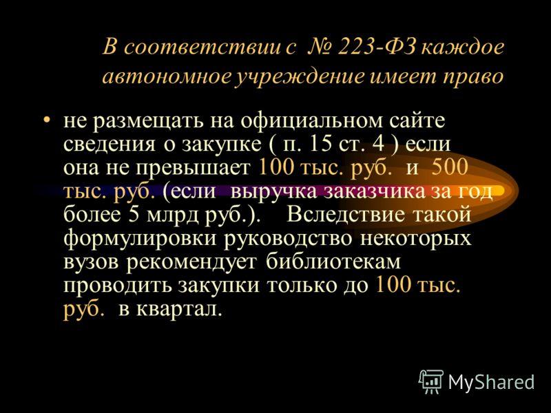 В соответствии с 223-ФЗ каждое автономное учреждение имеет право не размещать на официальном сайте сведения о закупке ( п. 15 ст. 4 ) если она не превышает 100 тыс. руб. и 500 тыс. руб. (если выручка заказчика за год более 5 млрд руб.). Вследствие та
