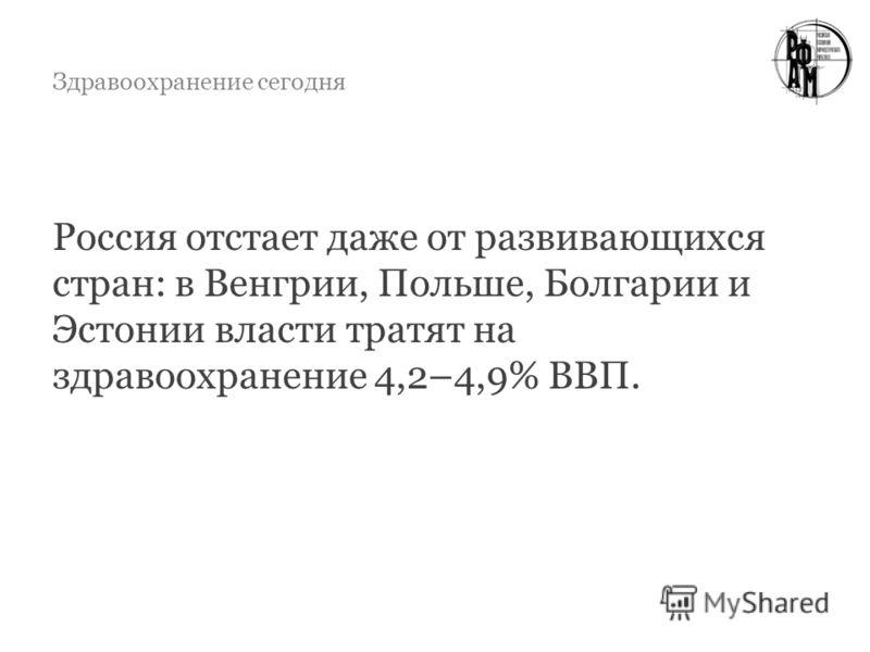 Здравоохранение сегодня Россия отстает даже от развивающихся стран: в Венгрии, Польше, Болгарии и Эстонии власти тратят на здравоохранение 4,2–4,9% ВВП.
