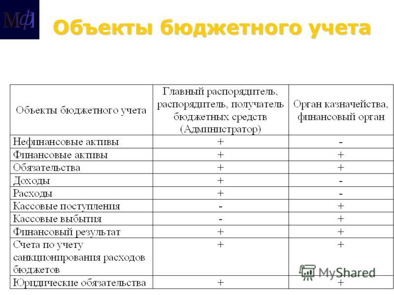 Объекты бюджетного учета