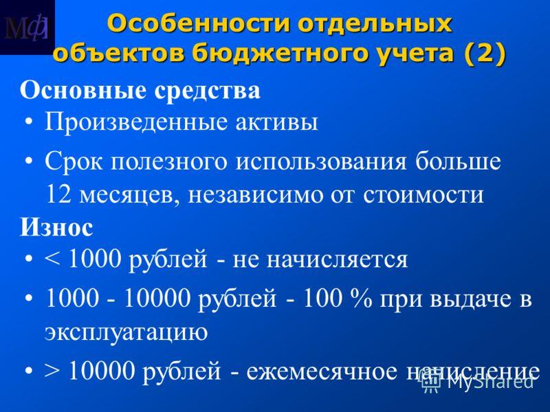 Особенности отдельных объектов бюджетного учета (2) Основные средства Произведенные активы Срок полезного использования больше 12 месяцев, независимо от стоимости Износ < 1000 рублей - не начисляется 1000 - 10000 рублей - 100 % при выдаче в эксплуата