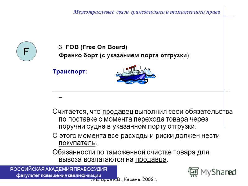 . © Егоров К.В., Казань, 2009 г. 55 3. FOB (Free On Board) Франко борт (с указанием порта отгрузки) Транспорт: ____________________________________________________ _ Считается, что продавец выполнил свои обязательства по поставке c момента перехода т