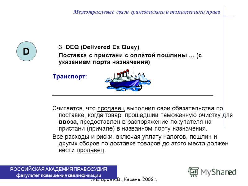 . © Егоров К.В., Казань, 2009 г. 62 3. DEQ (Delivered Ex Quay) Поставка с пристани с оплатой пошлины … (с указанием порта назначения) Транспорт: _______________________________________________ Считается, что продавец выполнил свои обязательства по по