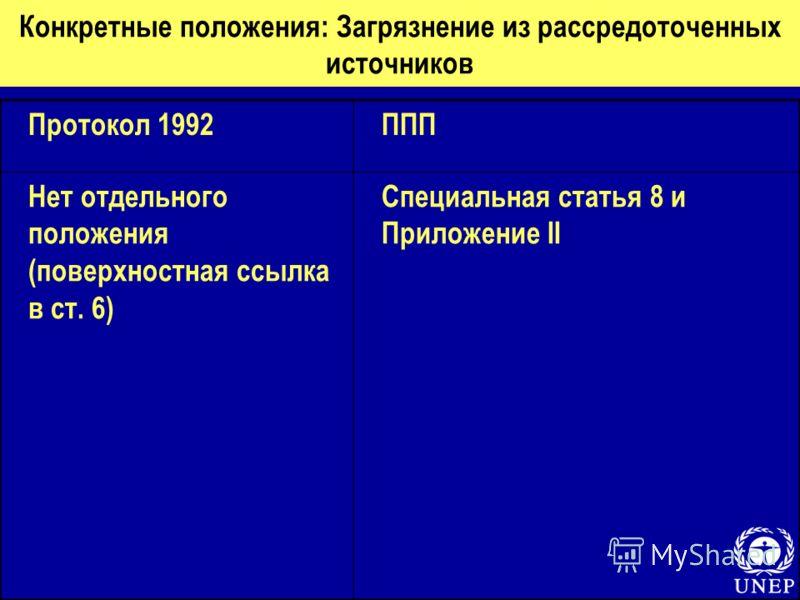 Конкретные положения: Загрязнение из рассредоточенных источников Протокол 1992ППП Нет отдельного положения (поверхностная ссылка в ст. 6) Специальная статья 8 и Приложение II