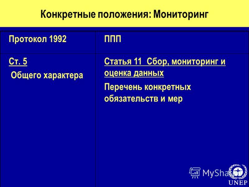 Конкретные положения: Мониторинг Протокол 1992ППП Ст. 5 Общего характера Статья 11 Сбор, мониторинг и оценка данных Перечень конкретных обязательств и мер