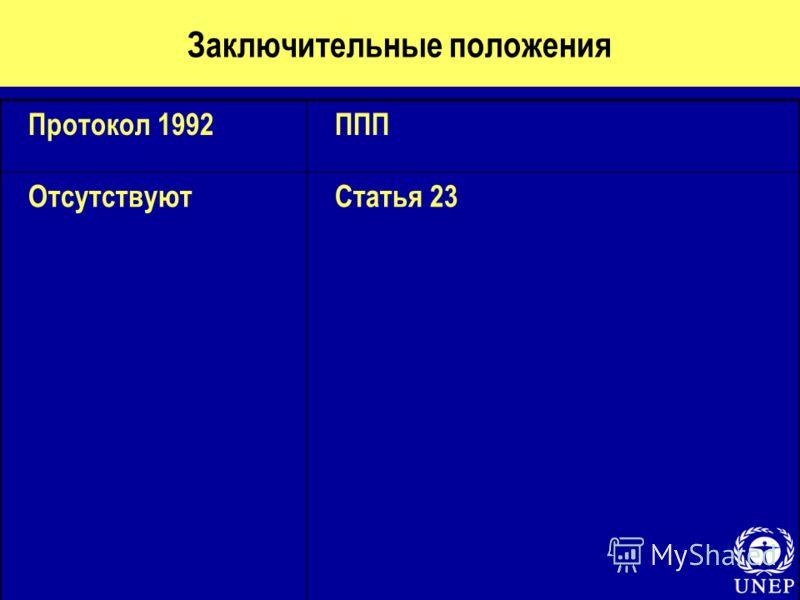 Заключительные положения Протокол 1992ППП ОтсутствуютСтатья 23