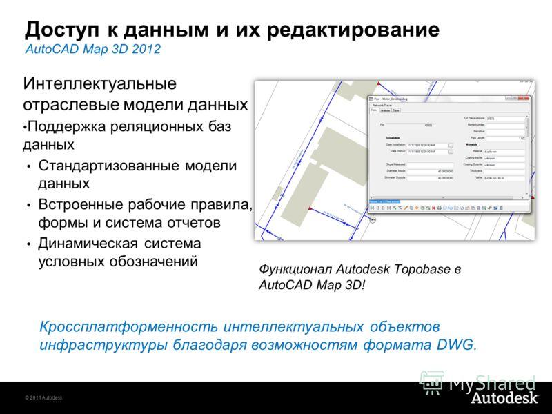 © 2011 Autodesk Доступ к данным и их редактирование Кроссплатформенность интеллектуальных объектов инфраструктуры благодаря возможностям формата DWG. AutoCAD Map 3D 2012 Интеллектуальные отраслевые модели данных Поддержка реляционных баз данных Станд