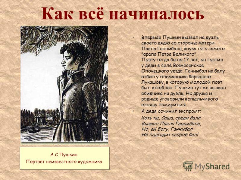 Как всё начиналось Впервые Пушкин вызвал на дуэль своего дядю со стороны матери Павла Ганнибала, внука того самого