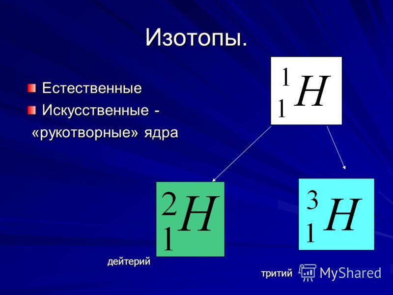 Изотопы. Естественные Искусственные - «рукотворные» ядра «рукотворные» ядра дейтерий тритий тритий
