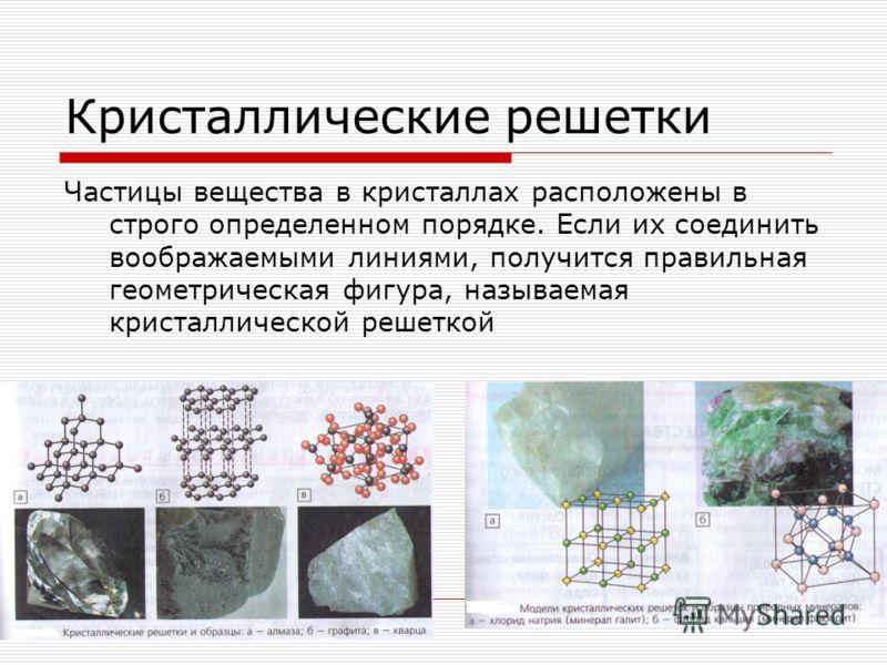 Кристаллические решетки Частицы вещества в кристаллах расположены в строго определенном порядке. Если их соединить воображаемыми линиями, получится правильная геометрическая фигура, называемая кристаллической решеткой