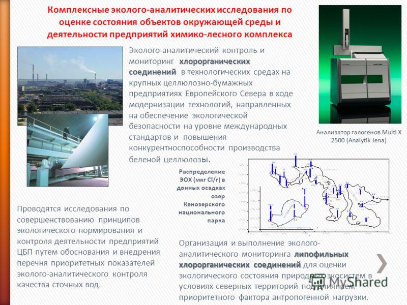 Комплексные эколого-аналитических исследования по оценке состояния объектов окружающей среды и деятельности предприятий химико-лесного комплекса Анализатор галогенов Multi X 2500 (Analytik Jena) Проводятся исследования по совершенствованию принципов