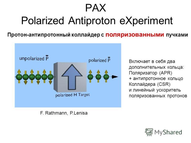 PAX Polarized Antiproton eXperiment Включает в себя два дополнительных кольца: Поляризатор (APR) + антипротонное кольцо Коллайдера (CSR) и линейный ускоритель поляризованных протонов Протон-антипротонный коллайдер с поляризованными пучками F. Rathman
