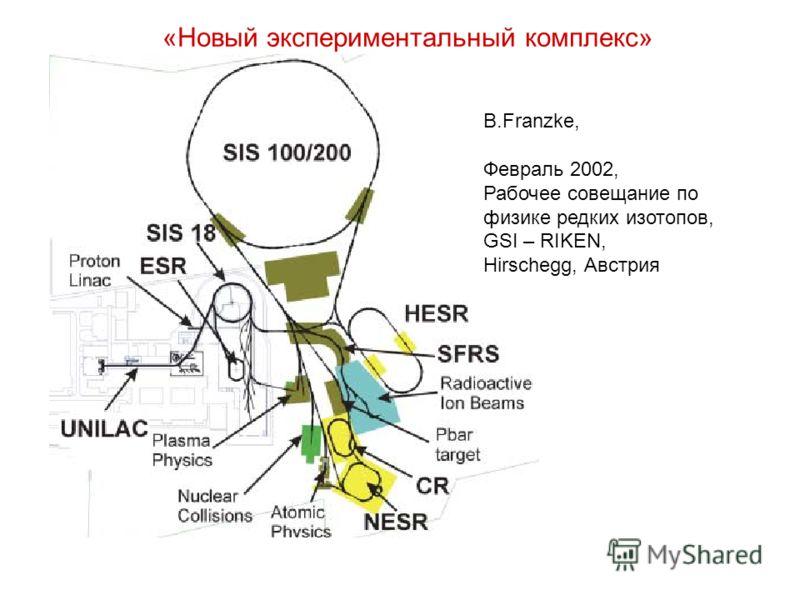 B.Franzke, Февраль 2002, Рабочее совещание по физике редких изотопов, GSI – RIKEN, Hirschegg, Австрия «Новый экспериментальный комплекс»