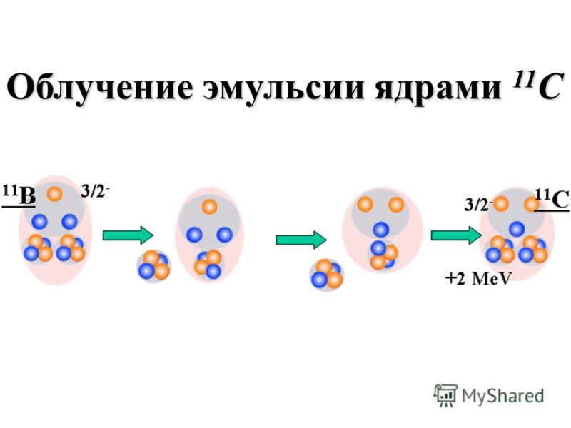 Облучение эмульсии ядрами 11 C