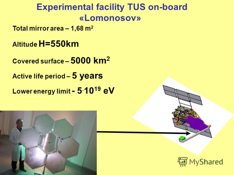 Experimental facility TUS on-board «Lomonosov» Total mirror area – 1,68 m 2 Altitude H=550km Covered surface – 5000 km 2 Active life period – 5 years Lower energy limit - 5. 10 19 eV