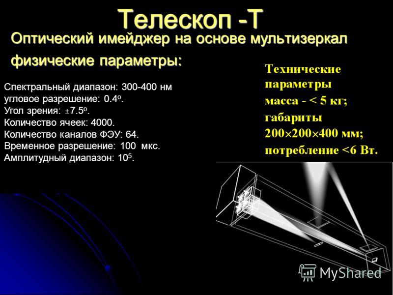 Tелескоп -T Оптический имейджер на основе мультизеркал физические параметры: Спектральный диапазон: 300-400 нм угловое разрешение: 0.4 o. Угол зрения: 7.5 o. Количество ячеек: 4000. Количество каналов ФЭУ: 64. Временное разрешение: 100 мкс. Амплитудн