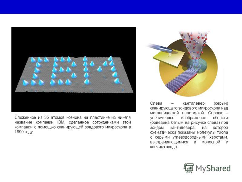 Сложенное из 35 атомов ксенона на пластинке из никеля название компании IBM, сделанное сотрудниками этой компании с помощью сканирующей зондового микроскопа в 1990 году Слева – кантилевер (серый) сканирующего зондового микроскопа над металлической пл