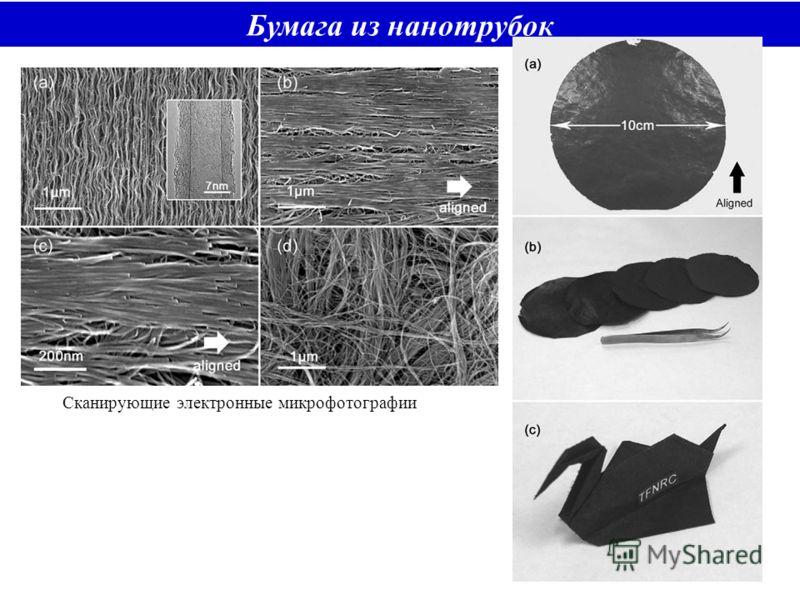 Бумага из нанотрубок Сканирующие электронные микрофотографии