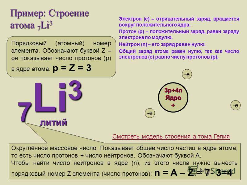Пример: Строение атома 7 Li 3 Электрон (е) – отрицательный заряд, вращается вокруг положительного ядра. Протон (р) – положительный заряд, равен заряду электрона по модулю. Нейтрон (n) – его заряд равен нулю. Общий заряд атома равен нулю, так как числ