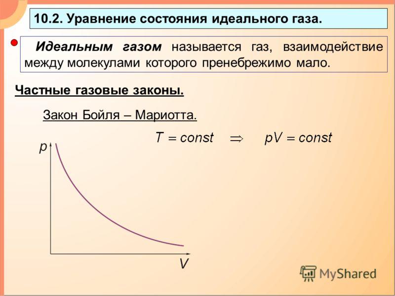 10.2. Уравнение состояния идеального газа. Идеальным газом называется газ, взаимодействие между молекулами которого пренебрежимо мало. Частные газовые законы. Закон Бойля – Мариотта.