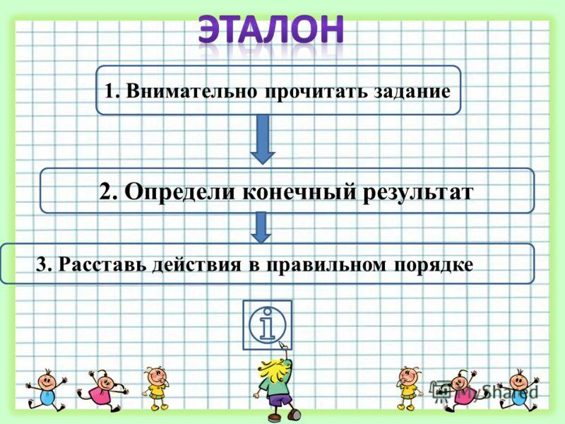 1. Внимательно прочитать задание 2. Определи конечный результат 3. Расставь действия в правильном порядке