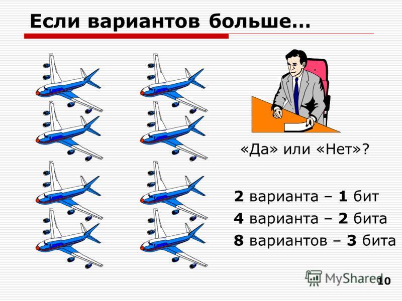 10 Если вариантов больше… «Да» или «Нет»? 2 варианта – 1 бит 4 варианта – 2 бита 8 вариантов – 3 бита