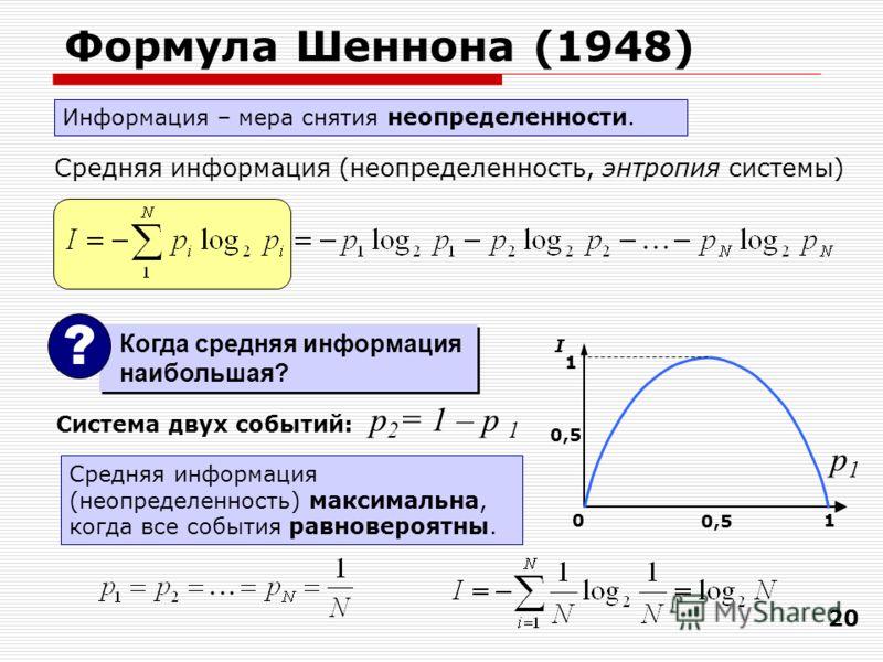 20 Формула Шеннона (1948) Средняя информация (неопределенность, энтропия системы) Система двух событий: 01 0,5 1 I Средняя информация (неопределенность) максимальна, когда все события равновероятны. p1p1 p 2 = 1 – p 1 Информация – мера снятия неопред
