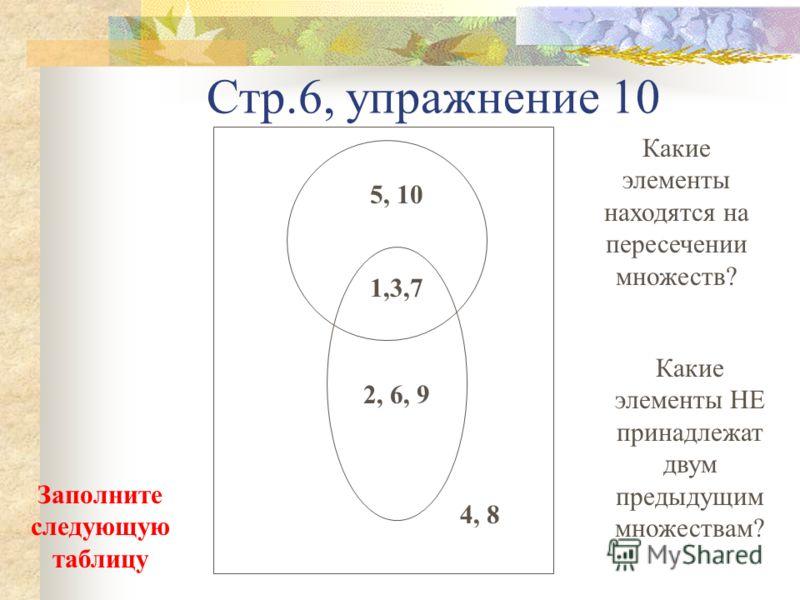 Стр.6, упражнение 10 5, 10 2, 6, 9 1,3,7 4, 8 Какие элементы находятся на пересечении множеств? Какие элементы НЕ принадлежат двум предыдущим множествам? Заполните следующую таблицу