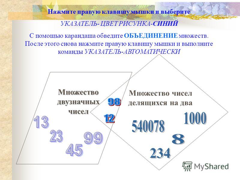Множество двузначных чисел Множество чисел делящихся на два Нажмите правую клавишу мышки и выберите УКАЗАТЕЛЬ- ЦВЕТ РИСУНКА-СИНИЙ С помощью карандаша обведите ОБЪЕДИНЕНИЕ множеств. После этого снова нажмите правую клавишу мышки и выполните команды УК