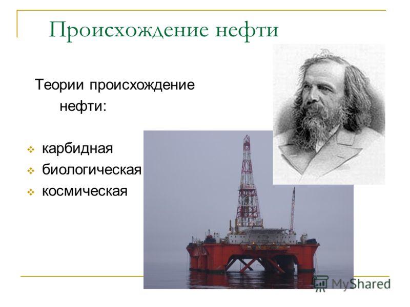 Происхождение нефти Теории происхождение нефти: карбидная биологическая космическая