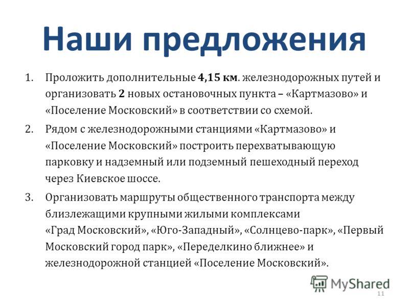 Наши предложения 1.Проложить дополнительные 4,15 км. железнодорожных путей и организовать 2 новых остановочных пункта – «Картмазово» и «Поселение Московский» в соответствии со схемой. 2.Рядом с железнодорожными станциями «Картмазово» и «Поселение Мос