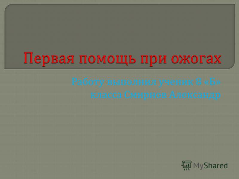 Работу выполнил ученик 8 « Б » класса Смирнов Александр