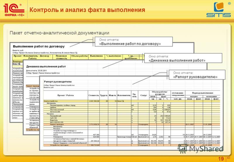 19 4343 Контроль и анализ факта выполнения Окно отчета: «Выполнение работ по договору» Окно отчета: «Динамика выполнения работ» Окно отчета: «Рапорт руководителю» Пакет отчетно-аналитической документации
