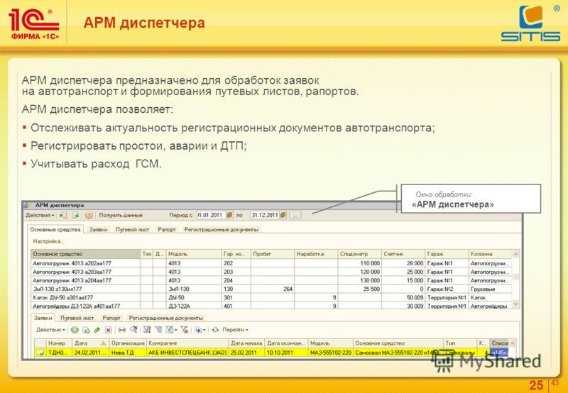 25 4343 АРМ диспетчера АРМ диспетчера предназначено для обработок заявок на автотранспорт и формирования путевых листов, рапортов. АРМ диспетчера позволяет: Отслеживать актуальность регистрационных документов автотранспорта; Регистрировать простои, а