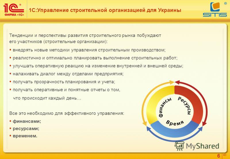 6 4343 Тенденции и перспективы развития строительного рынка побуждают его участников (строительные организации): внедрять новые методики управления строительным производством; реалистично и оптимально планировать выполнение строительных работ; улучша