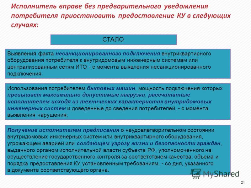 БЫЛО (307 ПП РФ)СТАЛО (354 ПП РФ) Возникновение или угроза возникновения аварийных ситуаций на оборудовании или сетях, по которым осуществляются водо-, тепло-, электро- и газоснабжение, а также водоотведение Возникновения или угроза возникновения ава