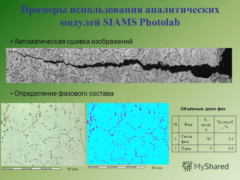 Примеры использования аналитических модулей SIAMS Photolab Автоматическая сшивка изображений 60 мкм Объёмные доли фаз Фаза S, кв.мк м Уд.сод.об., % 1 Сигма фаза 7673.4 2Поры00.0 Определение фазового состава