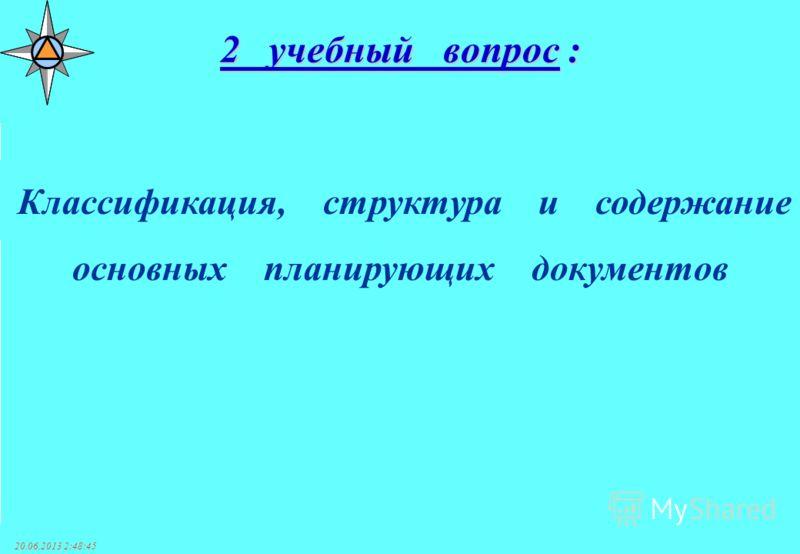 20.06.2013 2:50:38 Классификация, структура и содержание основных планирующих документов 2 учебный вопрос :