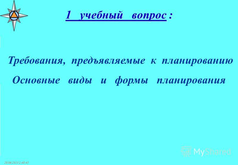20.06.2013 2:50:38 1 учебный вопрос : Требования, предъявляемые к планированию Основные виды и формы планирования